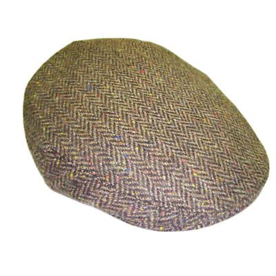 Brown Herringbone Donegal Tweed Cap