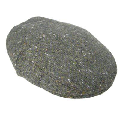 Olive Green Herringbone Donegal Tweed Cap