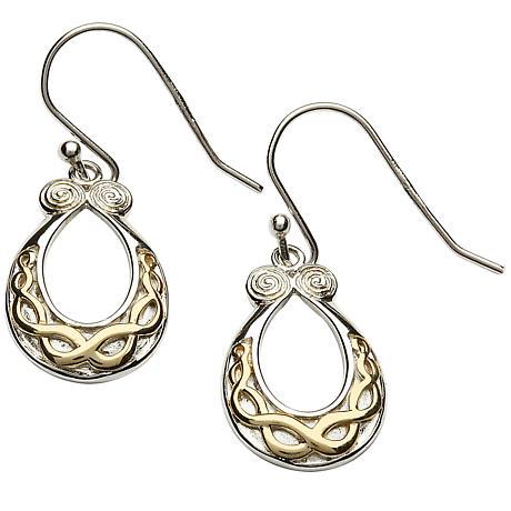 Celtic Earrings - Sterling Silver Celtic Knot Gold Plate Earrings