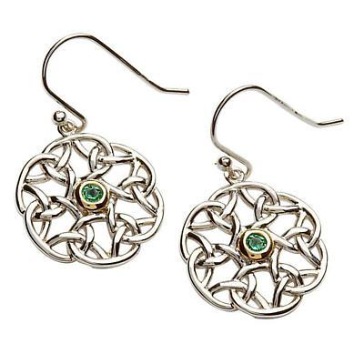 Celtic Earrings - Sterling Silver Celtic Trinity Stone Set Earrings