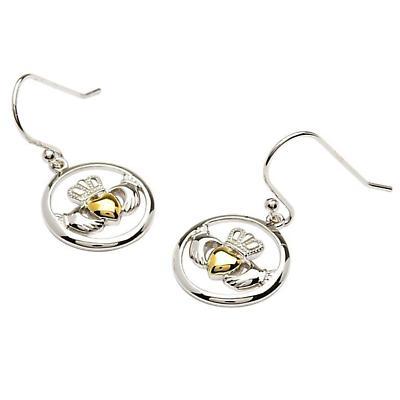 Claddagh Earrings - Sterling Silver Claddagh Gold Plate Heart Earrings