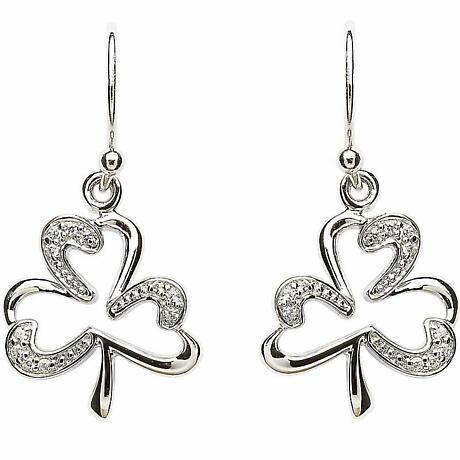 Shamrock Earrings - Sterling Silver Stone Set Open Shamrock Earrings