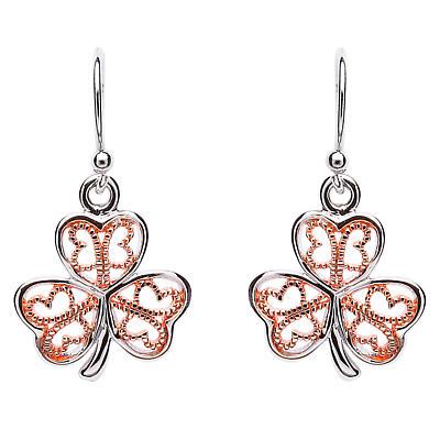 Shamrock Earrings - Sterling Silver Filigree Rose Gold Plated Shamrock Earrings