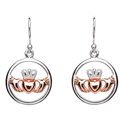 Claddagh Earrings - Sterling Silver Claddagh Rose Gold Plated Heart Earrings