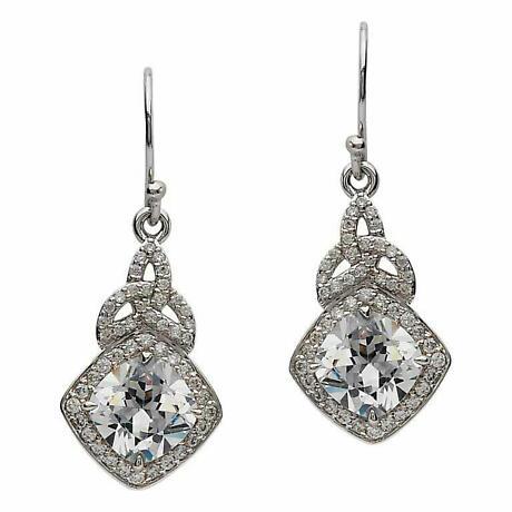 Irish Earrings - Sterling Silver CZ Trinity Knot Halo Earrings