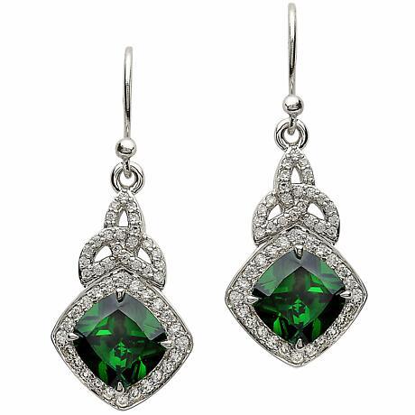 Irish Earrings - Sterling Silver Green CZ Trinity Knot Halo Earrings