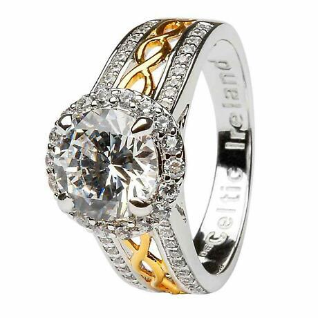 Irish Ring - Sterling Silver CZ Halo Ring