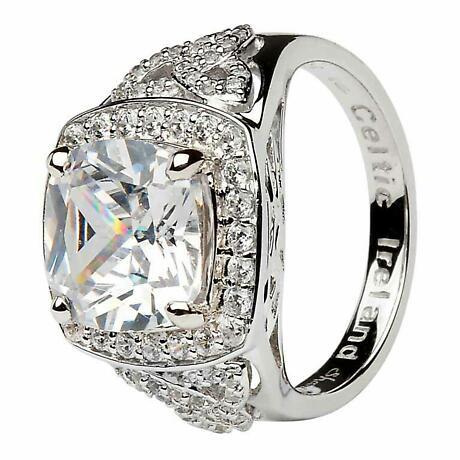 Irish Ring - Sterling Silver CZ Trinity Knot Halo Ring