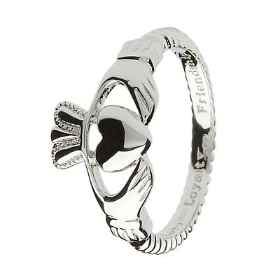 Claddagh Ring - Sterling Silver Claddagh Twist Rope Ring