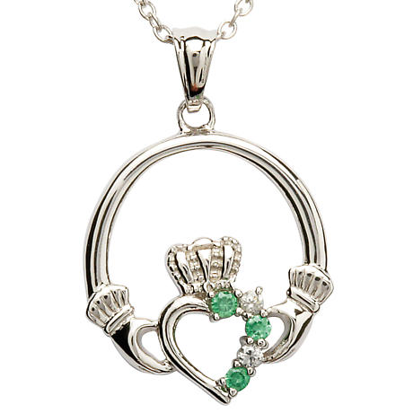 Claddagh Pendant - Sterling Silver Claddagh Stone Set Claddagh Pendant with Chain