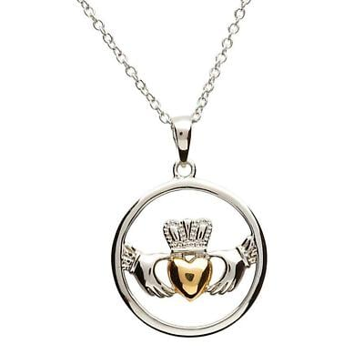 Claddagh Pendant - Sterling Silver Claddagh Gold Plate Heart Pendant with Chain