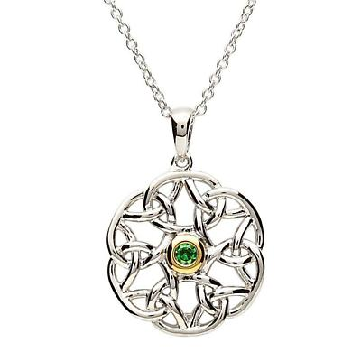 Celtic Pendant - Sterling Silver Celtic Trinity Stone Set Pendant with Chain