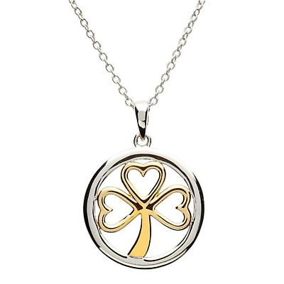 Shamrock Pendant - Sterling Silver Gold Plate Shamrock Pendant with Chain