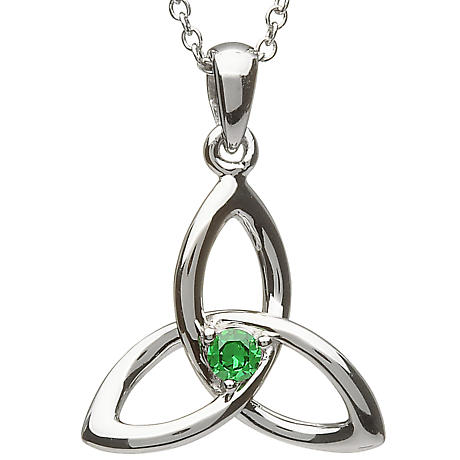 Trinity Knot Pendant - Sterling Silver Celtic Trinity Knot with Green Stone Pendant with Chain