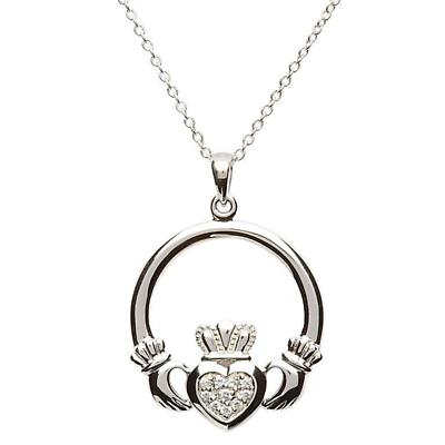 Claddagh Pendant - Sterling Silver Claddagh Stone Set Pendant with Chain