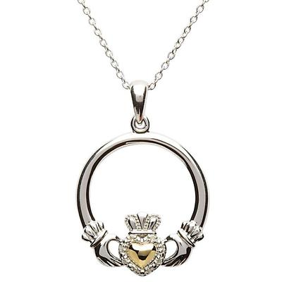 Claddagh Pendant - Sterling Silver Diamond Set Claddagh with 10k Gold Heart Pendant with Chain