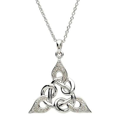 Celtic Necklace - A Radiant Sterling Silver and CZ Celtic Knot Pendant