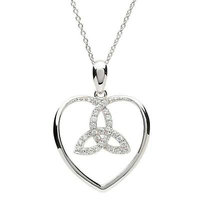 Celtic Necklace - Sterling Silver Love Heart Trinity Pendant
