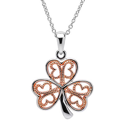 Shamrock Pendant - Sterling Silver Filigree Rose Gold Plated Shamrock Pendant