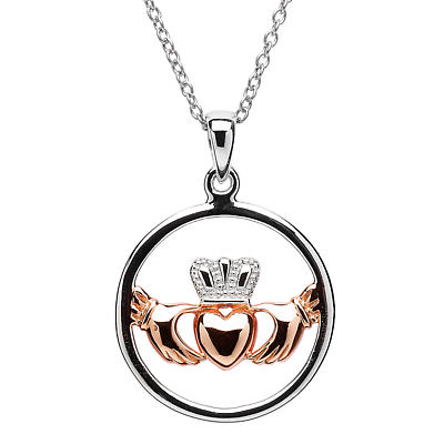 Claddagh Pendant - Sterling Silver Claddagh Rose Gold Plated Heart Pendant