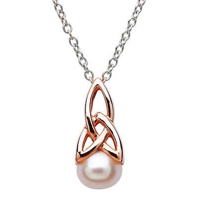 Celtic Pendant - Sterling Silver Celtic Pearl Rose Gold Plated Pendant