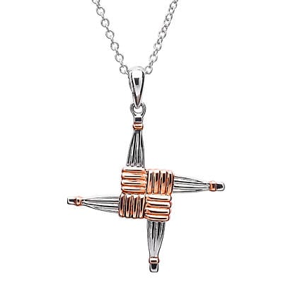 Celtic Cross - Sterling Silver Rose Gold Plated St. Brigid Cross