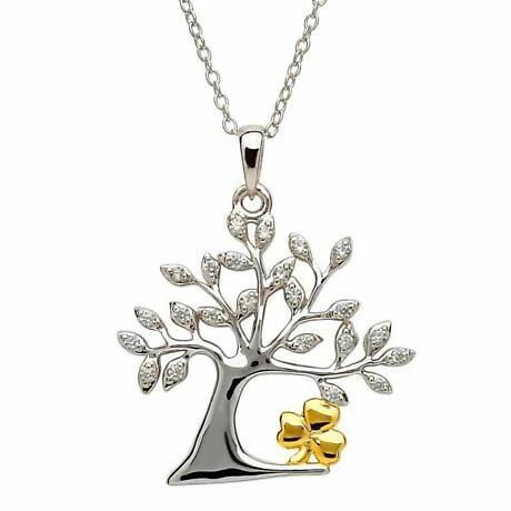 Irish Necklace - Sterling Silver Tree of Life Shamrock Pendant