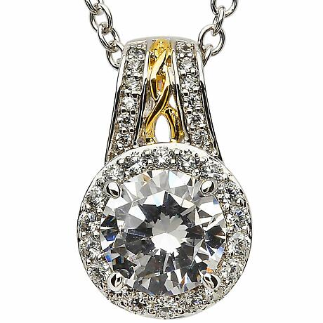 Irish Necklace - Sterling Silver CZ Halo Pendant