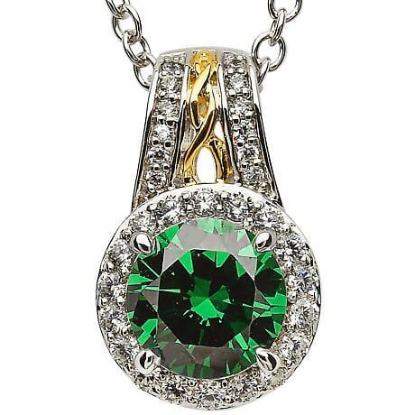 Irish Necklace - Sterling Silver Green CZ Halo Pendant