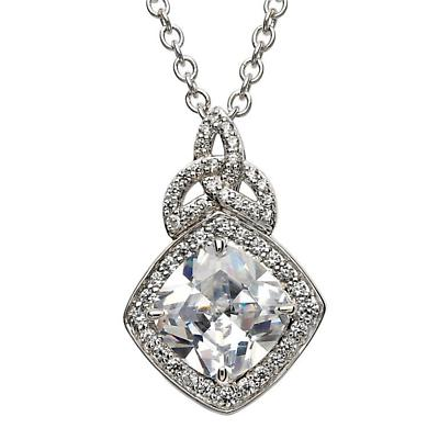 Irish Necklace - Sterling Silver CZ Trinity Knot Halo Pendant