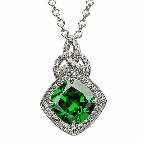 Irish Necklace - Sterling Silver Green CZ Trinity Knot Halo Pendant