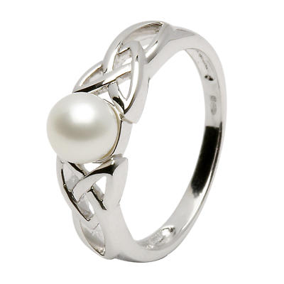Trinity Knot Ring - Sterling Silver Celtic Trinity Knot Pearl Ring