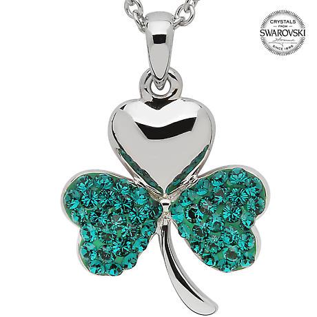 Shamrock Necklace - Sterling Silver Shamrock Pendant Encrusted with Emerald Swarovski Crystals