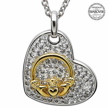 Claddagh Necklace - Sterling Silver Claddagh Heart Pendant Encrusted with Swarovski Crystals