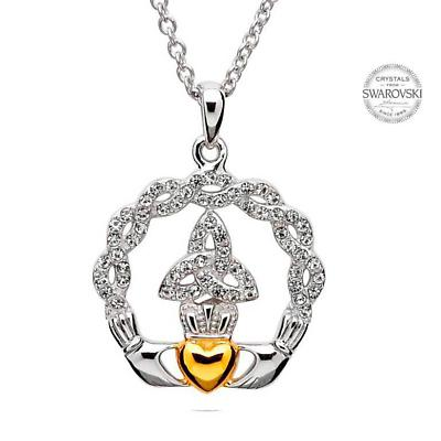 Claddagh Necklace - Sterling Silver and Gold Plated Claddagh Trinity Pendant Embellished with Swarovski Crystals