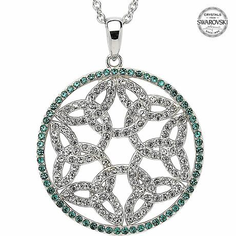 Trinity Knot Necklace - Sterling Silver Trinity Knot Circle Pendant Encrusted with Emerald Swarovski Crystals