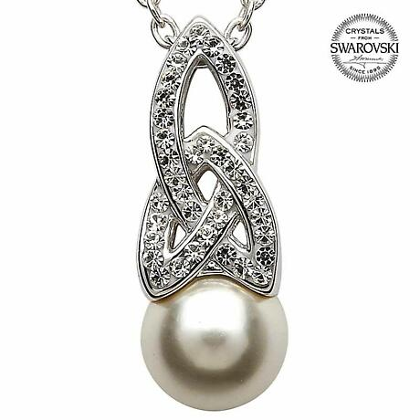 Celtic Necklace - Sterling Silver Celtic Pearl Pendant Adorned with Swarovski Crystals