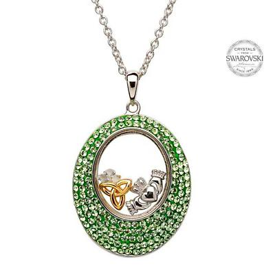 Irish Necklace - Sterling Silver Claddagh and Trinity Pendant Encrusted with Peridot Swarovski Crystals