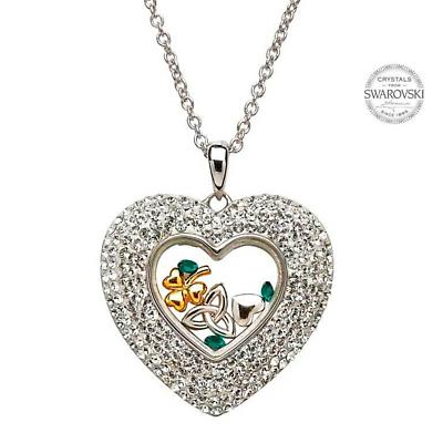 Irish Necklace - Sterling Silver Trinity Shamrock Heart Pendant Encrusted with Swarovski Crystals