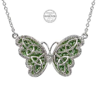 Irish Necklace - Sterling Silver Trinity Butterfly Pendant Embellished with Peridot Swarovski Crystals