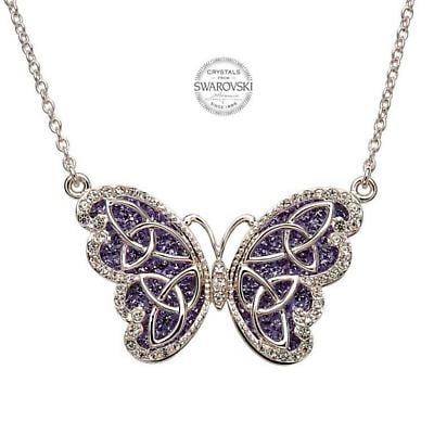 Irish Necklace - Sterling Silver Trinity Butterfly Pendant Embellished with Tanzanite Swarovski Crystals