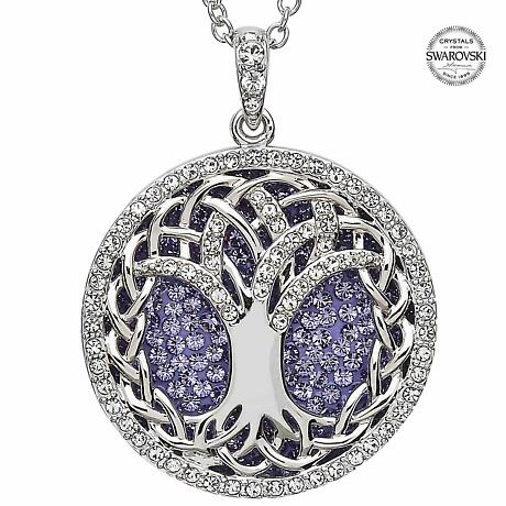 Irish Necklace - Sterling Silver Tree of Life Pendant Embellished with Tanzanite Swarovski Crystals