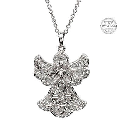 Irish Necklace - Sterling Silver Trinity Angel Pendant Embellished with Swarovski Crystals