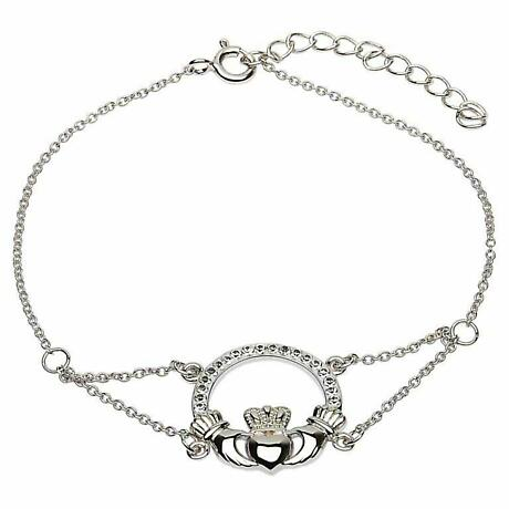 Irish Bracelet - Claddagh Bracelet with Swarovski Crystals