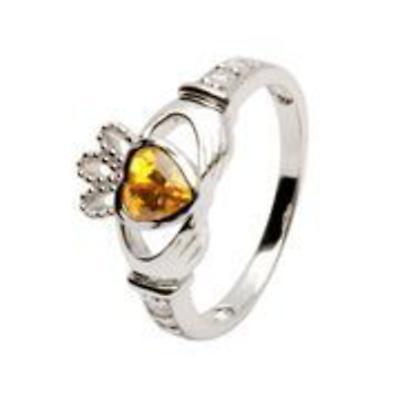 Claddagh Ring - Sterling Silver Birthstone Claddagh