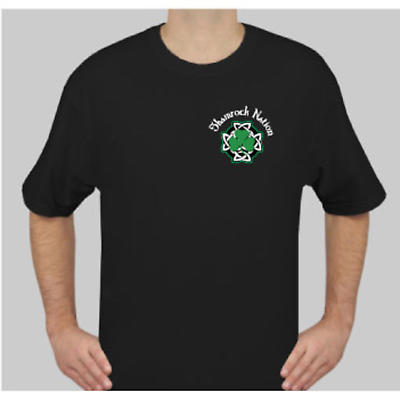 Irish T-Shirt - Shamrock Nation Pirate/Flag Short Sleeve Black T-Shirt