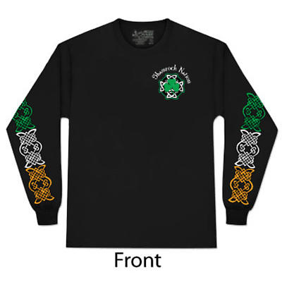 Irish T-Shirt - Shamrock Nation Shamrock Flag Long Sleeve Black T-Shirt