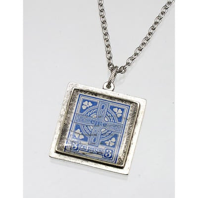 Irish Necklace - Irish Postage Stamp Square Pendant with Chain