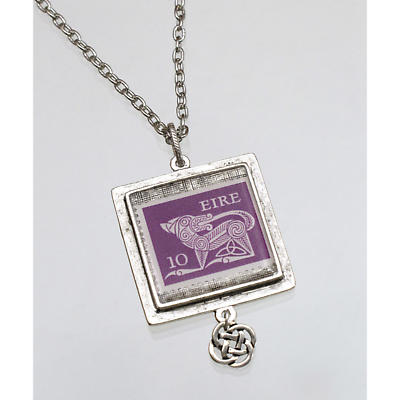 Celtic Pendant - Irish Postage Stamp Square Pendant with Celtic Knot Charm