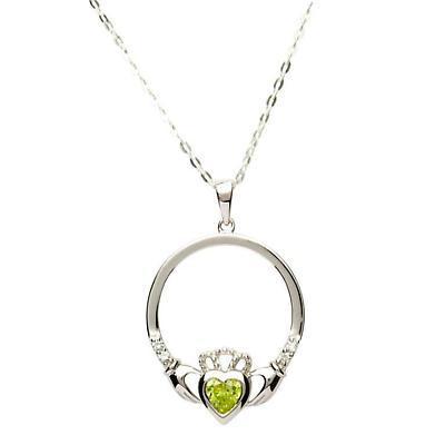 Irish Necklace - Sterling Silver Birthstone Claddagh Pendant